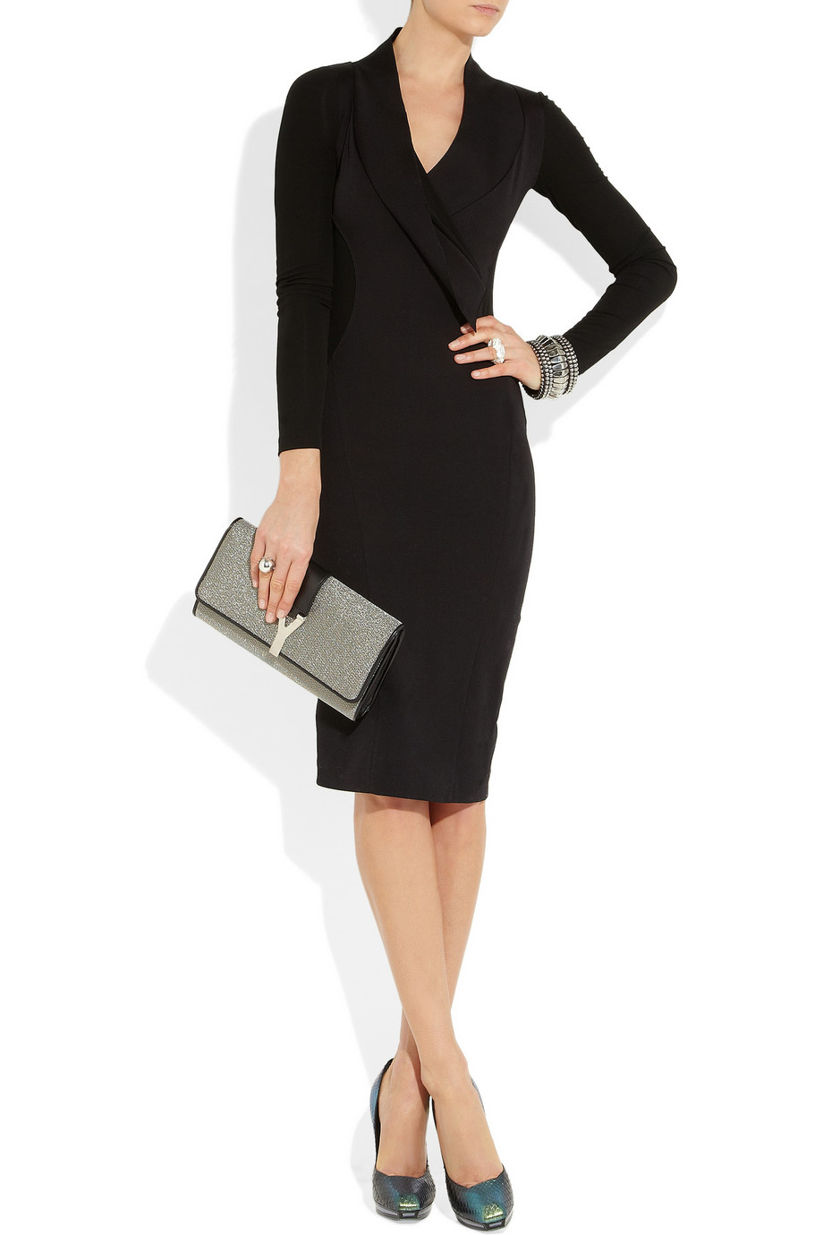Donna Karan Stretch Cottonblend And Stretchcrepe Dress In