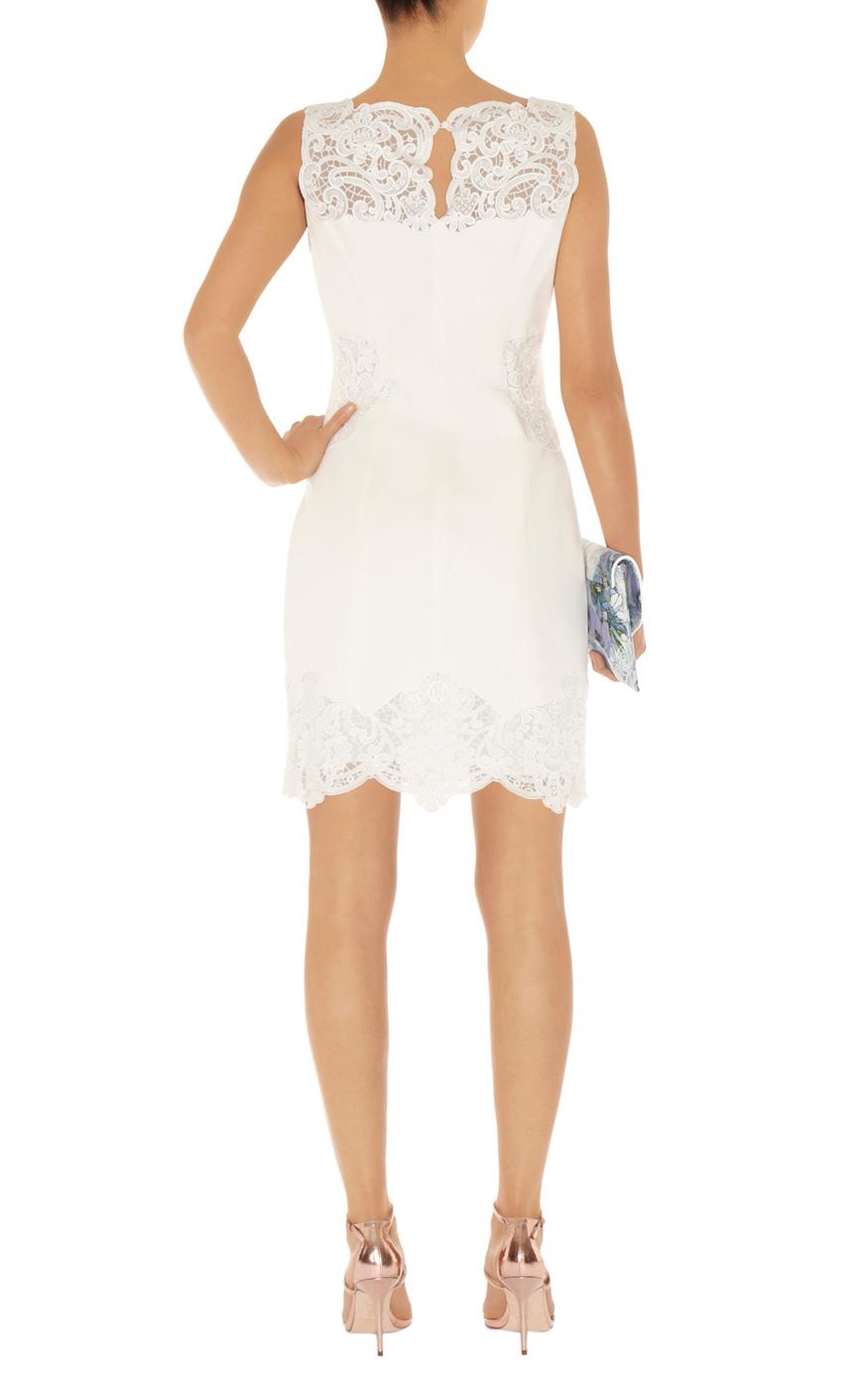 Karen Millen Cotton Lace Panel Dress In White Lyst