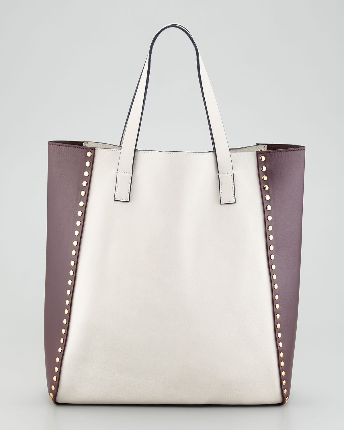 Marni Bicolor Studded Tote Bag in White | Lyst