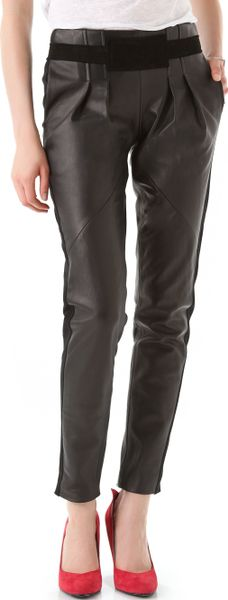 Rebecca Minkoff Leather Combo Pleated Pants in Black