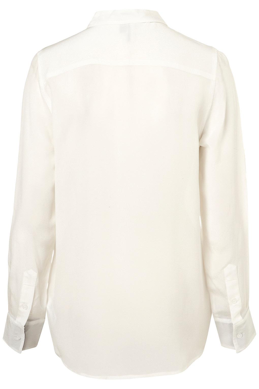 bbee460576e30 Topshop Premium Silk Polka Trim Shirt in Natural - Lyst