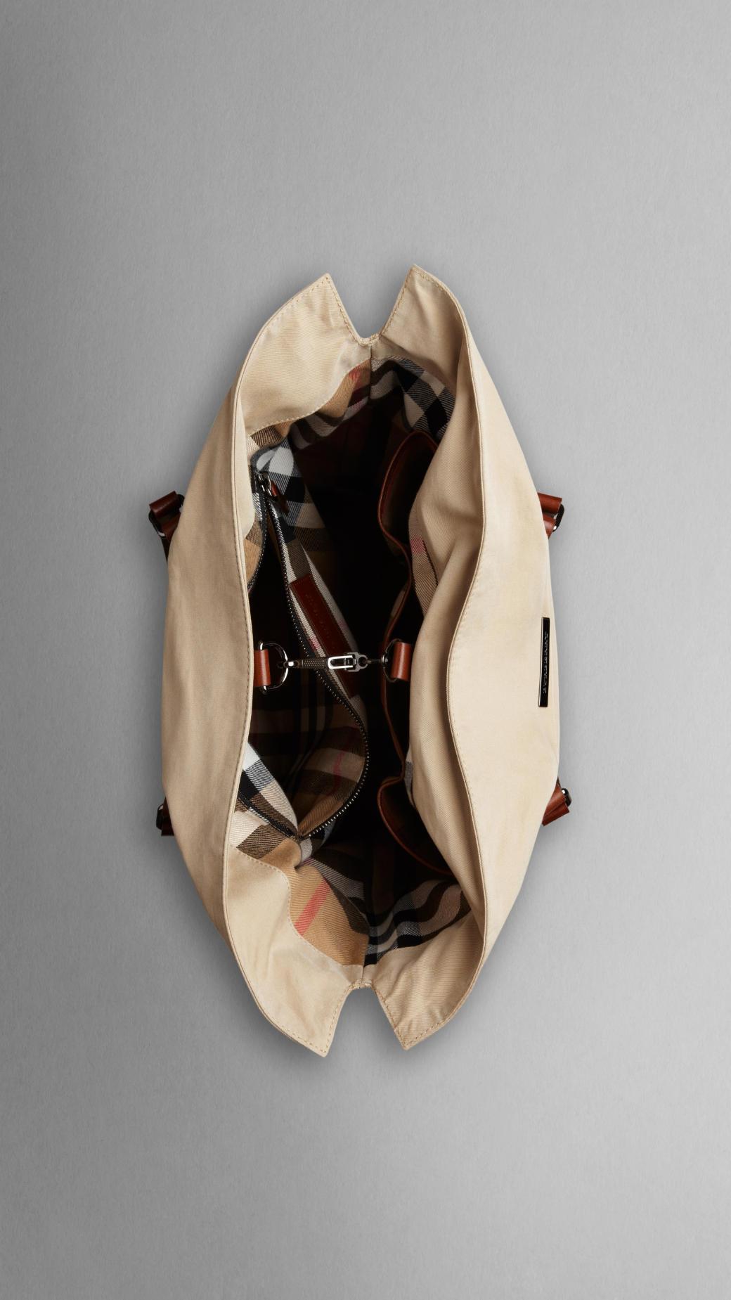 Burberry Cotton Gabardine Tote Bag in Honey (Natural) for Men