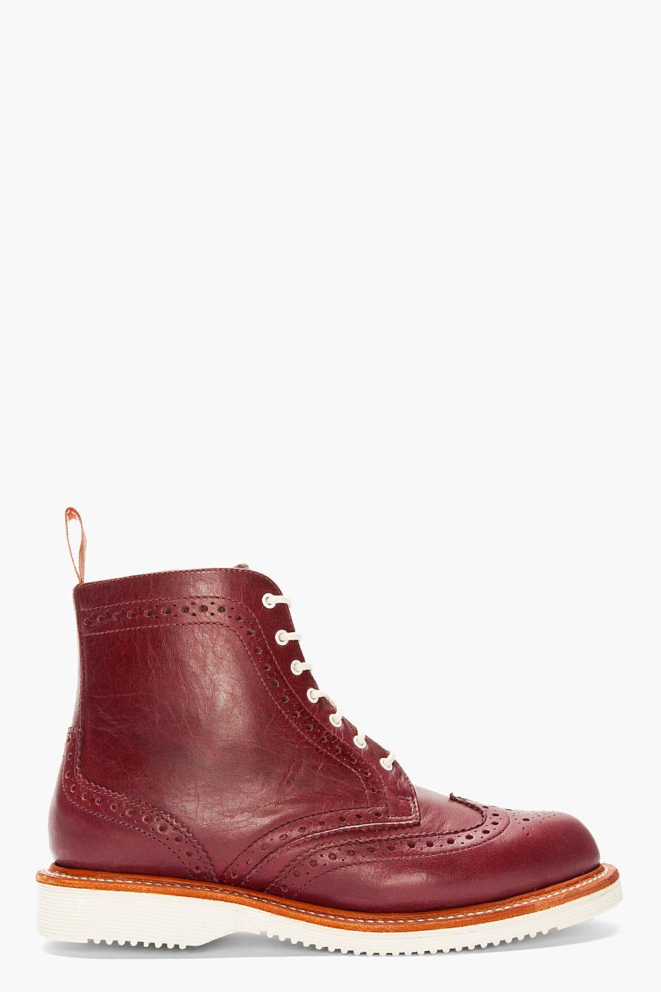 Dr Martens Burgundy Leather Bentley Wingtip Brogue Boots
