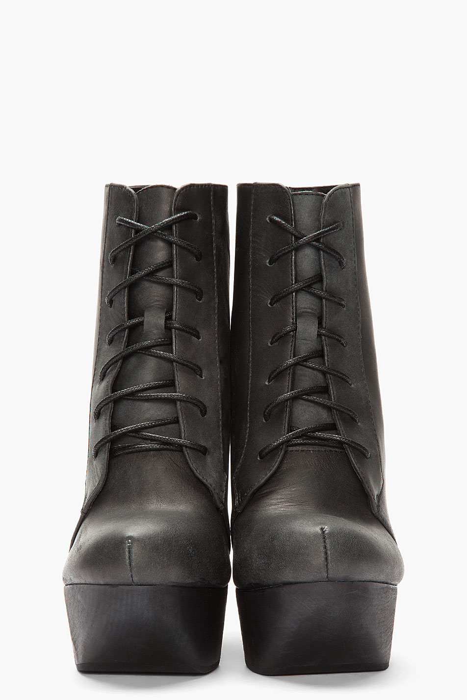 Jeffrey Campbell Black Leather Cutout Roxie Wedge Boots Lyst