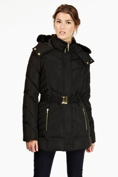 Oasis Feather And Down Hooded Coat In Black Lyst