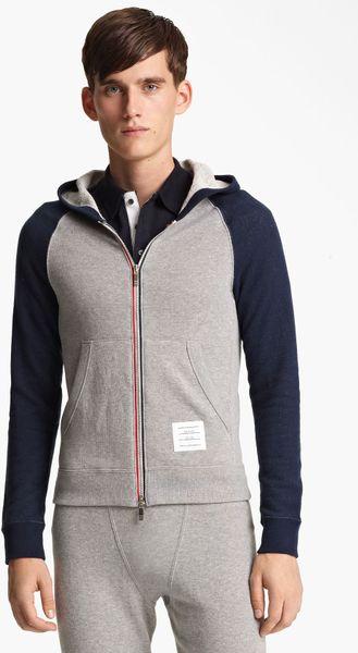 Thom Browne Raglan Sleeve Hoodie in Gray for Men (light grey/ navy