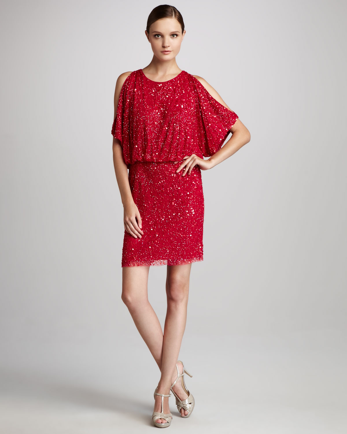 Aidan mattox Coldshoulder Sequined Cocktail Dress in Red | Lyst