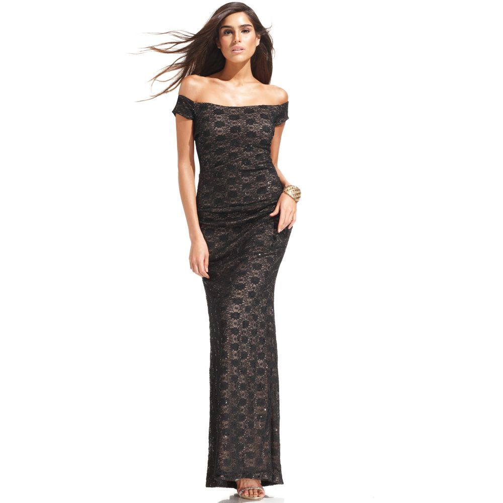 Alex evenings Off The Shoulder Sequin Lace Evening Gown in Black ...