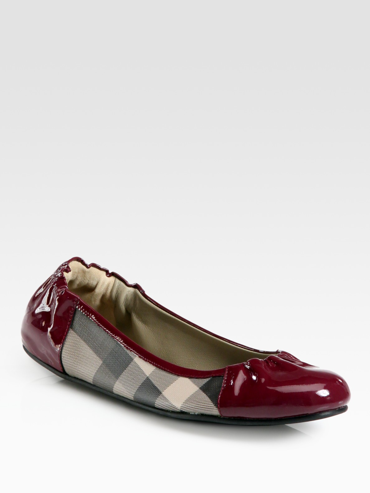 burberry smoked check canvas patent leather ballet flats
