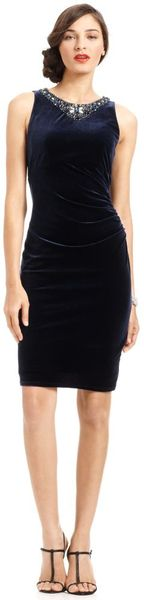 Eliza J Sleeveless Beaded Velvet Sheath Dress in Black