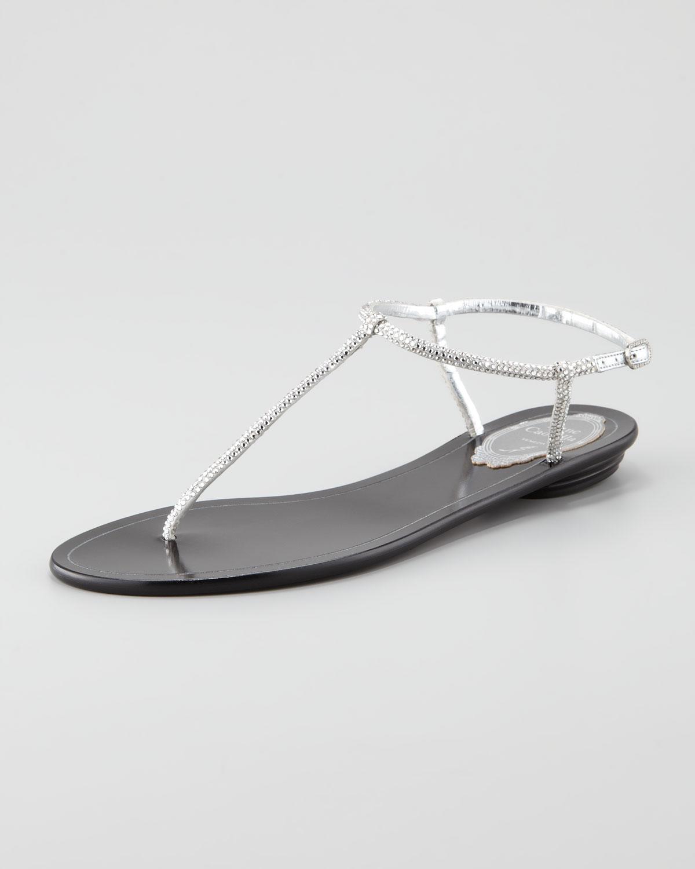 45134b46b995 Lyst - Rene Caovilla Crystal Thong Flat Sandal in Metallic