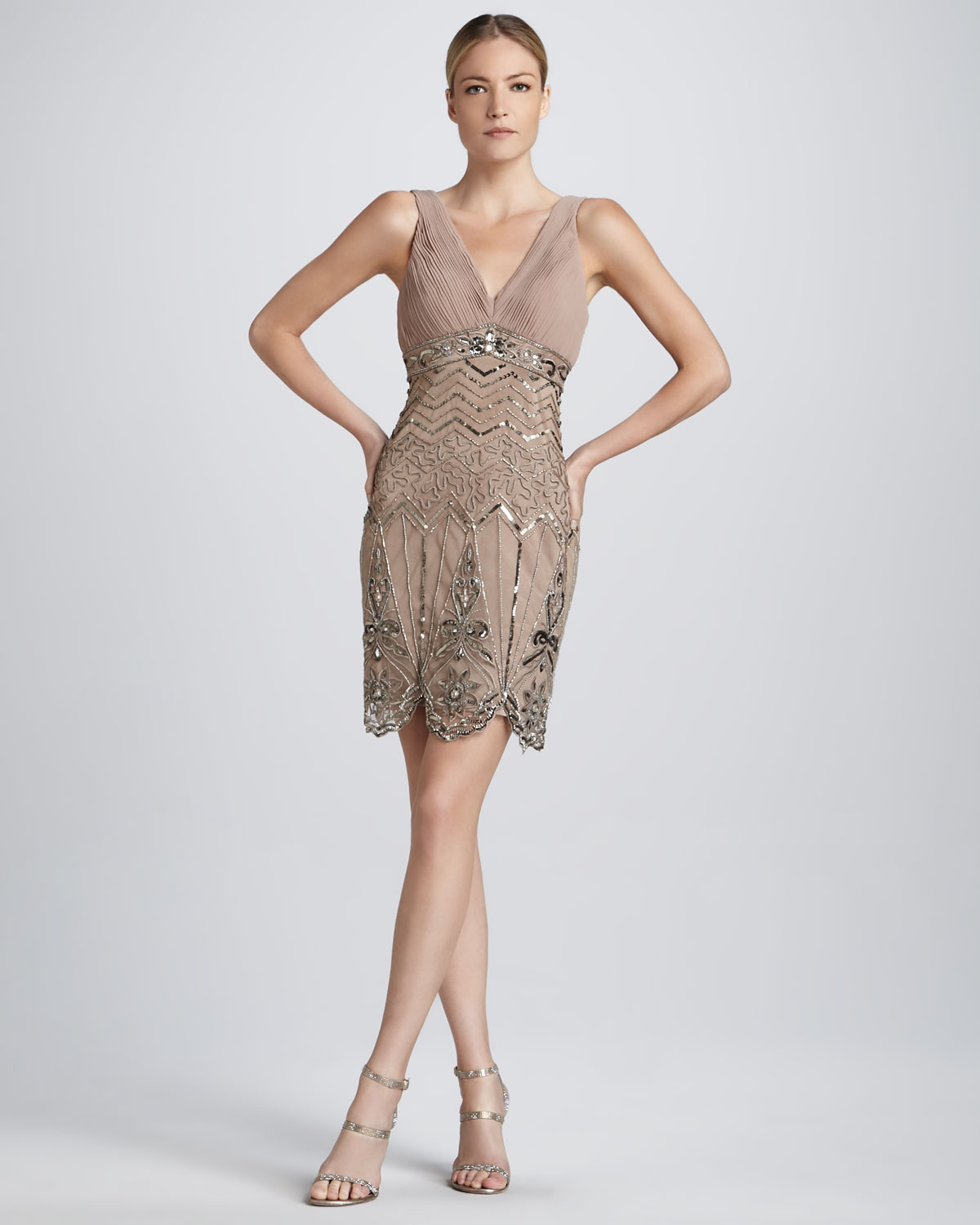 9598a093974e9 Lyst - Sue Wong Sleeveless Beaded Cocktail Dress in Natural