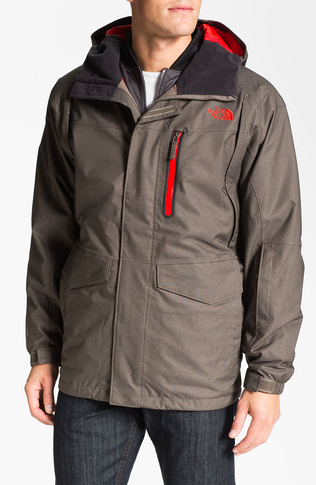 lyst the north face houser triclimate hyvent waterproof 3in1 jacket in brown for men. Black Bedroom Furniture Sets. Home Design Ideas