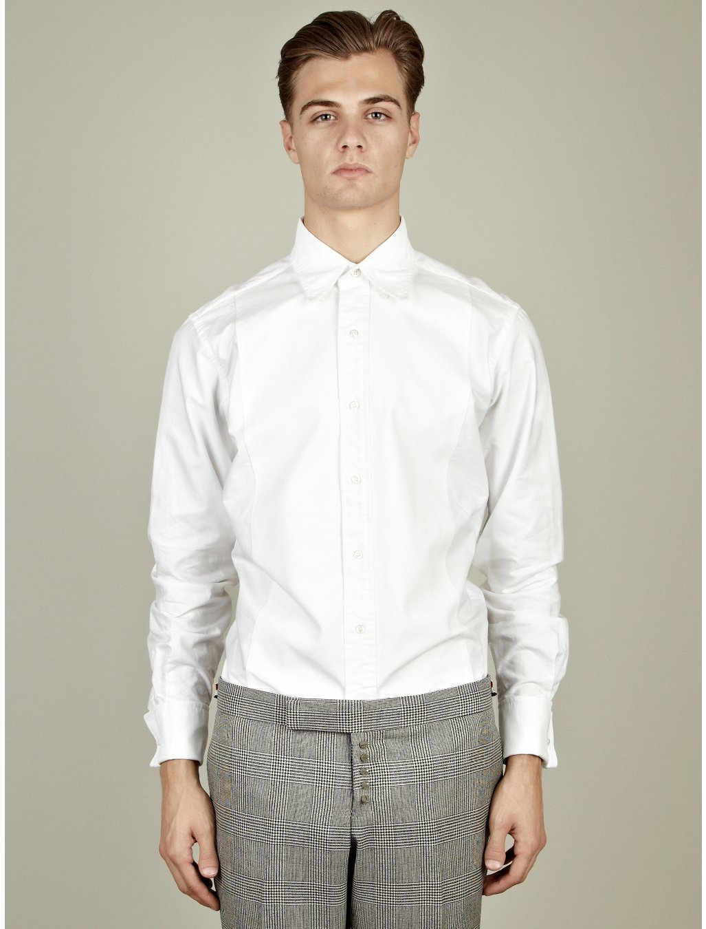 Thom browne classic button down tuxedo shirt in white for for Preppy button down shirts