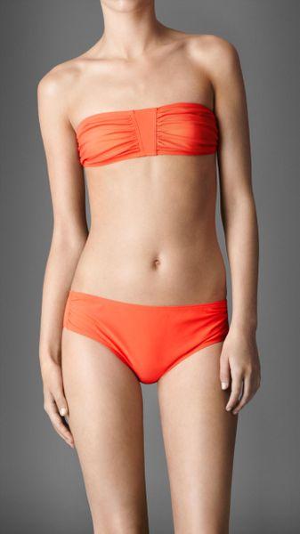 Burberry Gathered Bandeau Bikini in Orange (orange red)