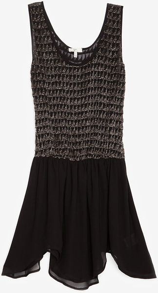 Joie Embellished Elastic Waist Dress in Black - Lyst
