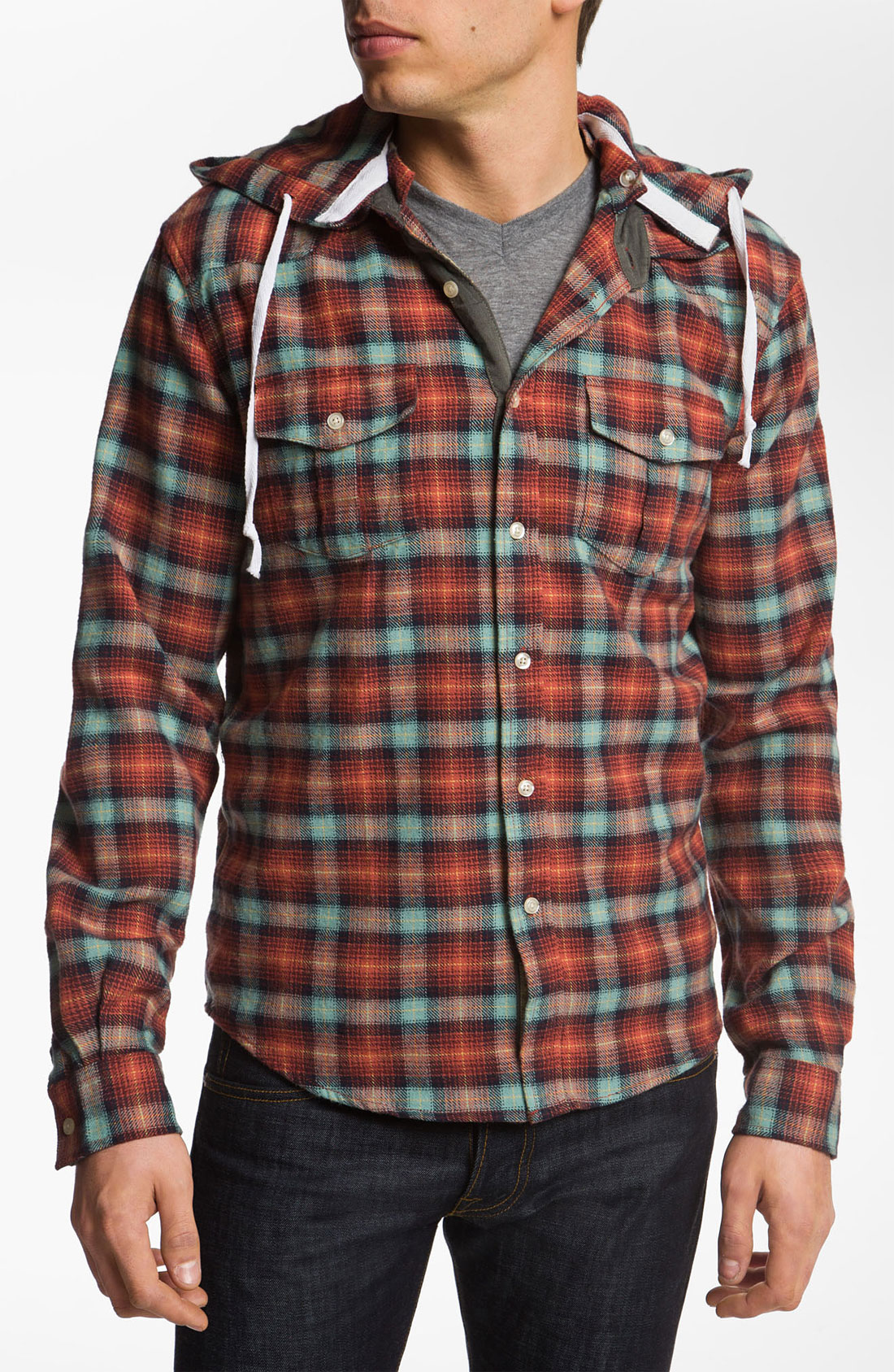 lyst just a cheap shirt button down flannel hoodie in