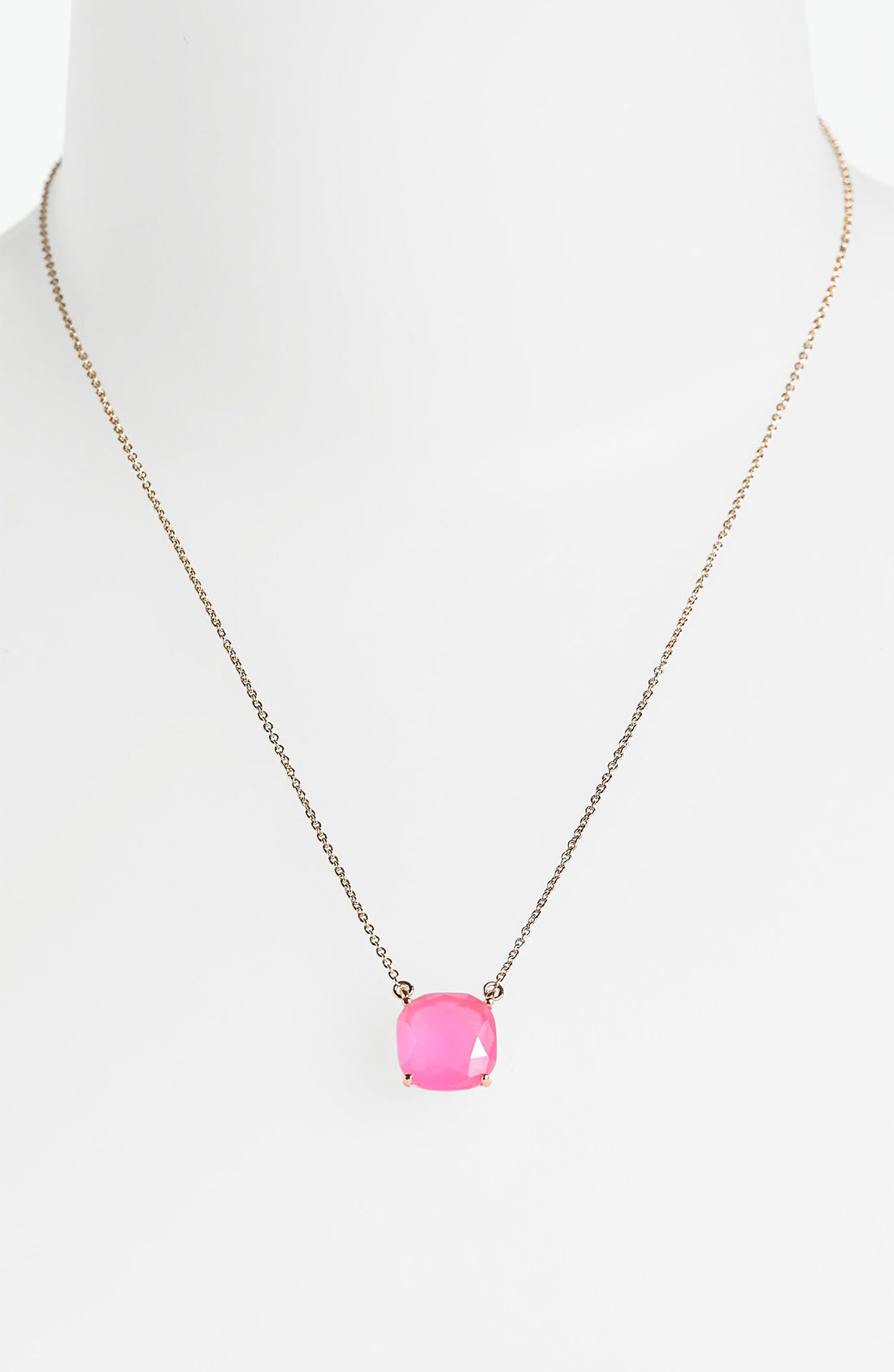 kate spade boxed pendant necklace in pink fluorescent