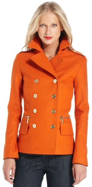 Michael Kors Double Breasted Pea Coat in Orange (pea) | Lyst