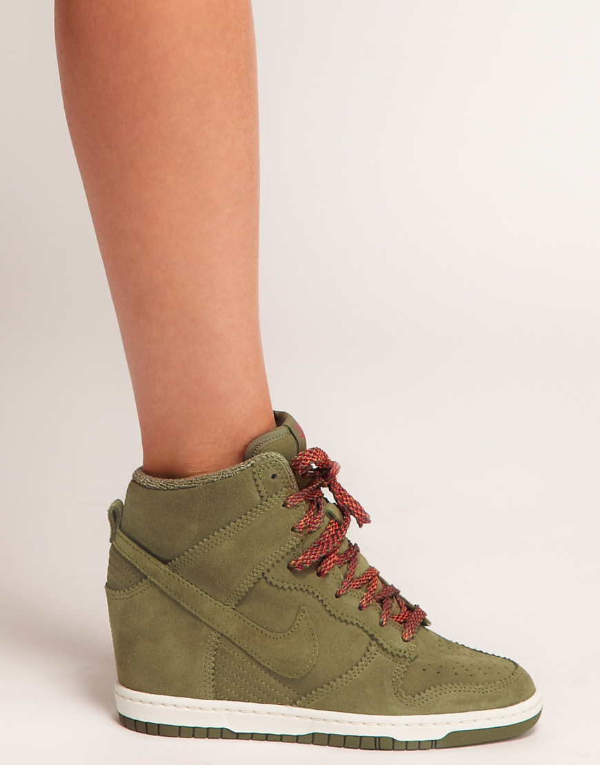 Lyst - Nike Dunk Sky High Olive Wedge Trainers in Natural 68b451a70