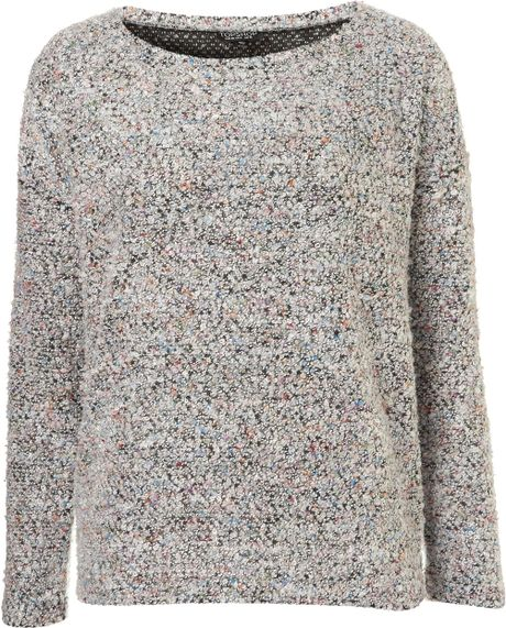 Knitting Pattern Slouch Jumper : Topshop Knitted Boucle Slouch Jumper in Gray (multi) - Lyst