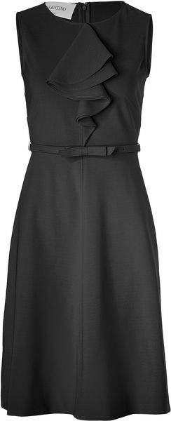 Valentino Black Belted Sheath Dress with Ruffle - Lyst