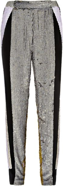 3.1 Phillip Lim Sequined Silk Track Pants in Gray (black)