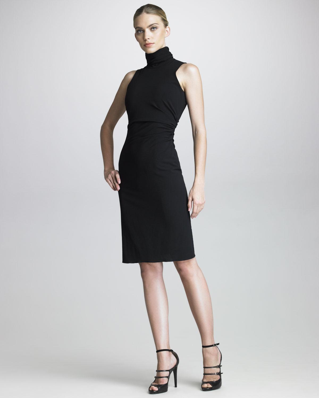 lyst  armani sleeveless turtleneck dress in black