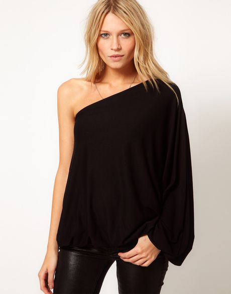 asos top with one shoulder volume sleeve in black lyst