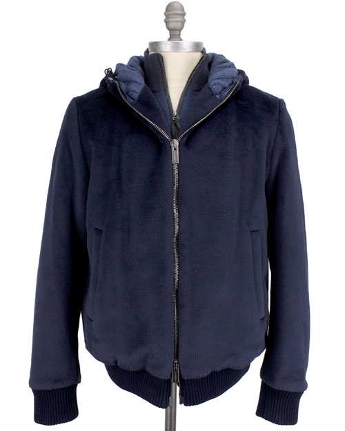Fendi Navy Alpaca Bomber Jacket in Blue for Men (navy)