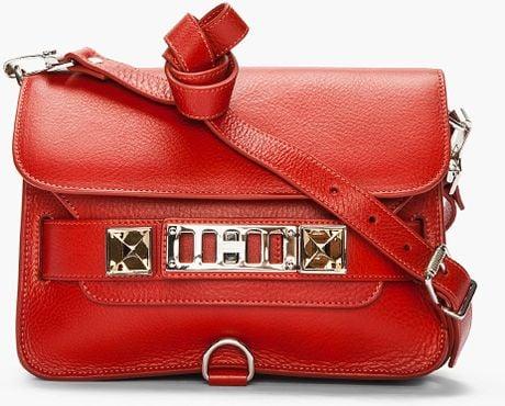 Proenza Schouler Paprika Leather Ps11 Mini Classic in Red