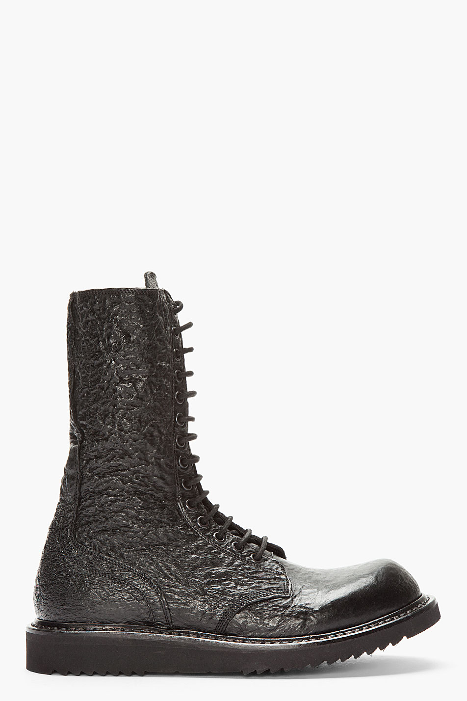 rick owens black textured leather combat boot in black for
