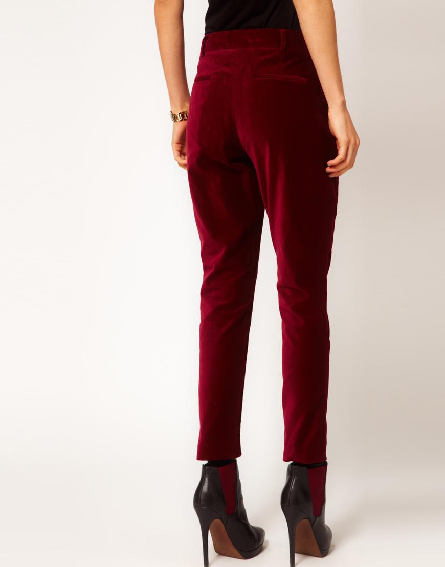 Lyst Asos Slimfit Velvet Trouser In Red