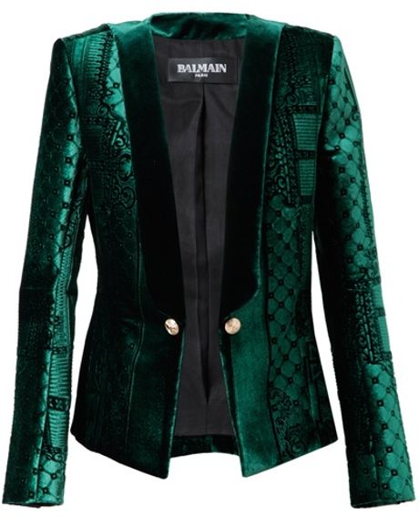 Balmain Velvet Jacquard Jacket in Green (forest)