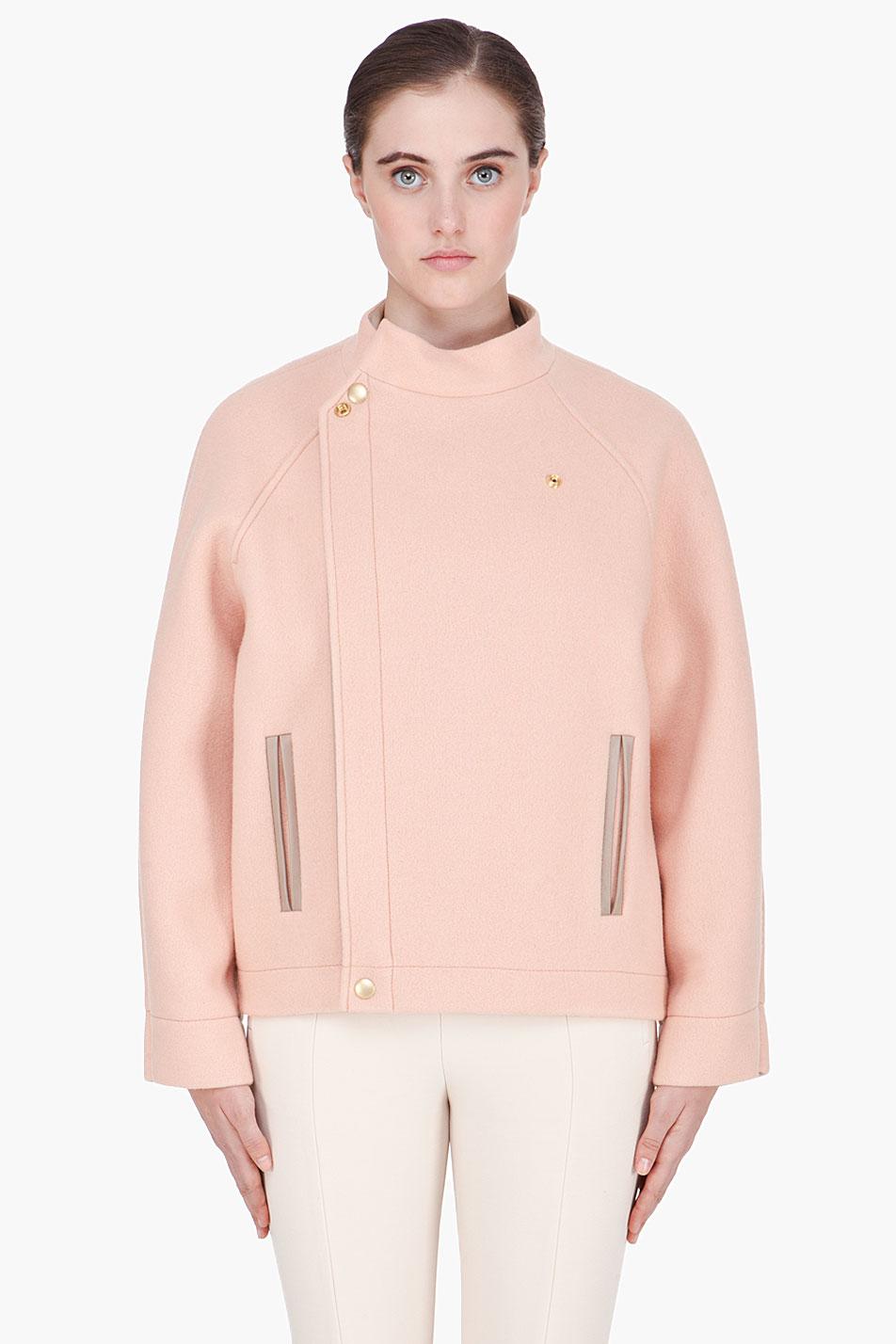 Chlo 233 Oversize Blush Raglan Sleeve Bomber Jacket In Pink
