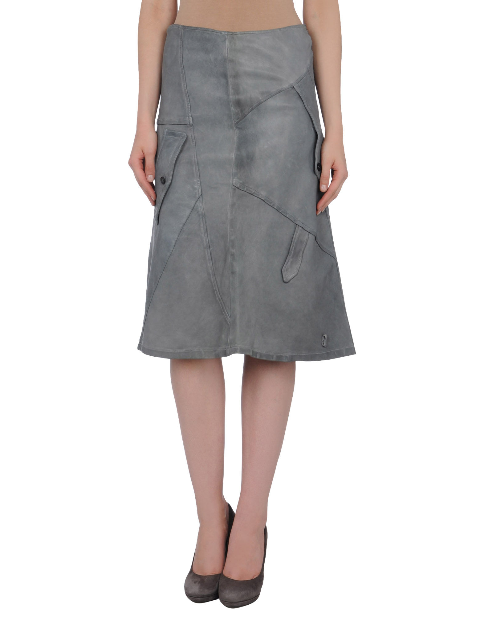 collection priv 233 e leather skirts in gray save 69 lyst