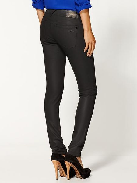 Womens Black Wax Coated Jeans