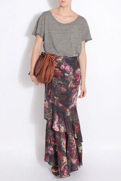 Haute Hippie Floral Print Ruffle Maxi Dress In Floral Lyst