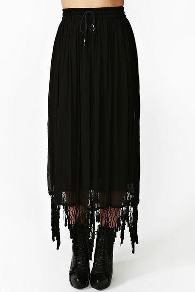 gal sheer fringe maxi skirt in black lyst