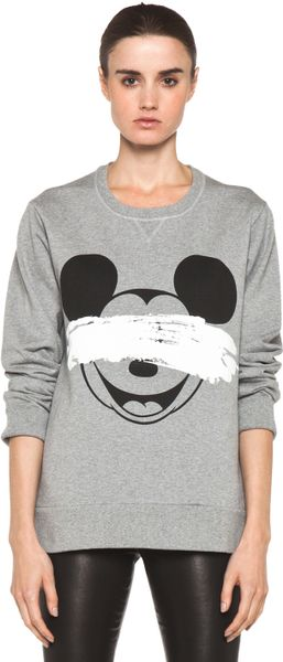 Neil Barrett Mickey Print Sweatshirt in Smoke Melange Black in Gray (smoke melange & black)