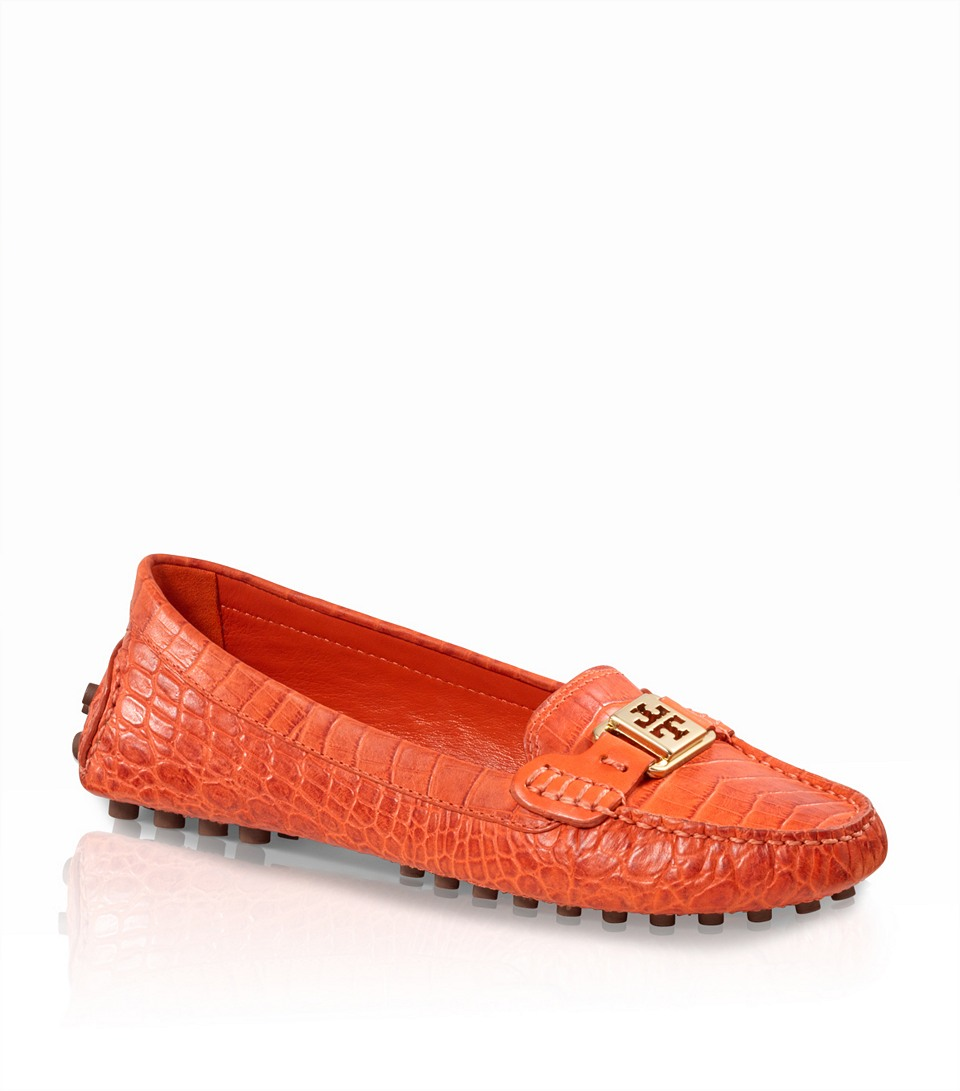 4d267ee5586c61 Lyst - Tory Burch Amazon Croc Print Kendrick Driver in Red