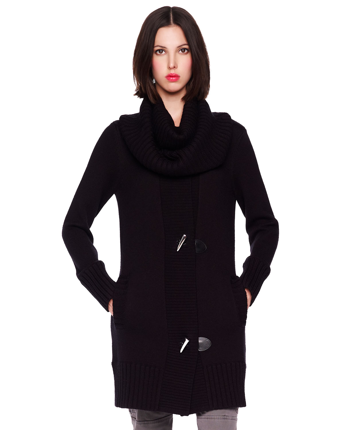 Michael kors Sweater Coat in Black | Lyst