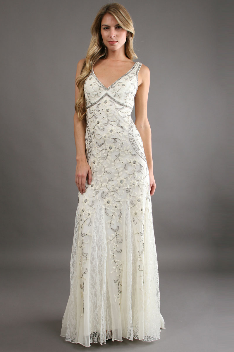 Sue wong antique embroidered gown off in white ivory