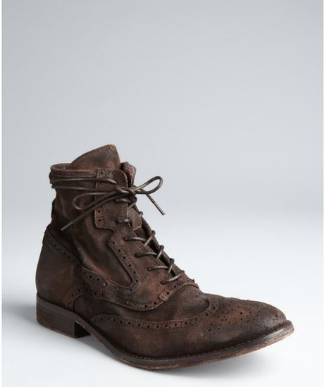 rogue chocolate distressed leather planton wing tip boots