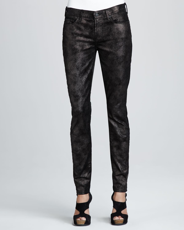 7 for all mankind Skinny Moon Metal Black Velvet Jeans in ...