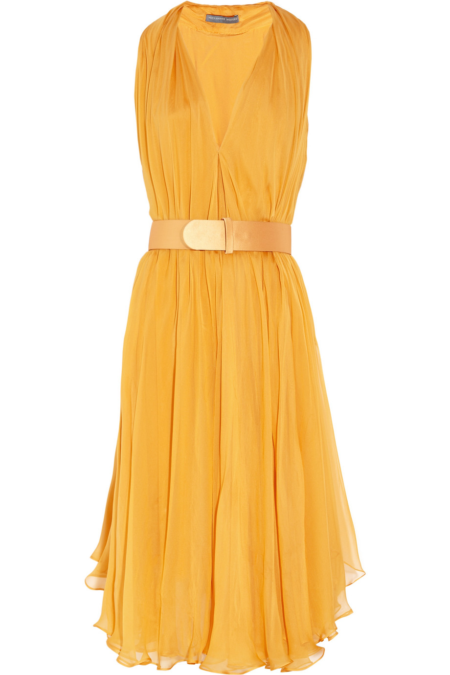 Alexander mcqueen Belted Silk-Chiffon Dress in Yellow | Lyst