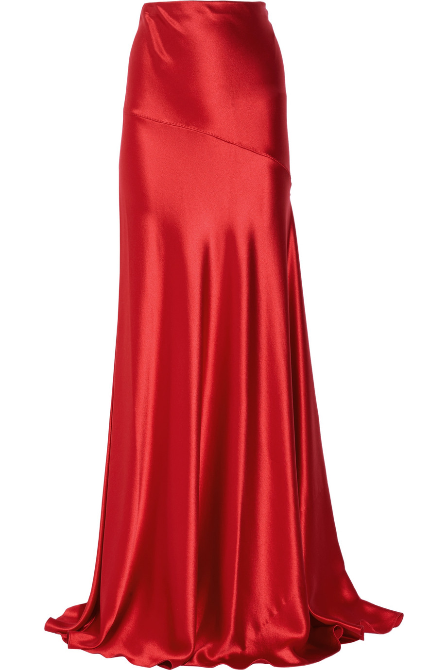Amanda wakeley Hammered Silk-satin Maxi Skirt in Red | Lyst