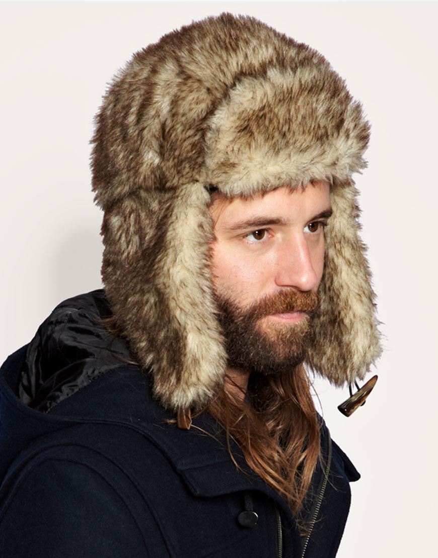 4b33edb72 ASOS Natural All Over Fur Trapper Hat for men