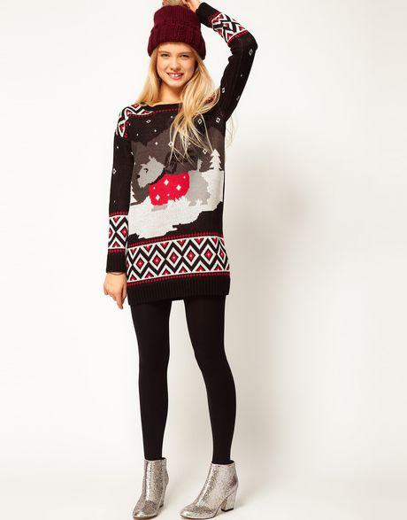 Asos collection asos christmas scene jumper dress in black multi