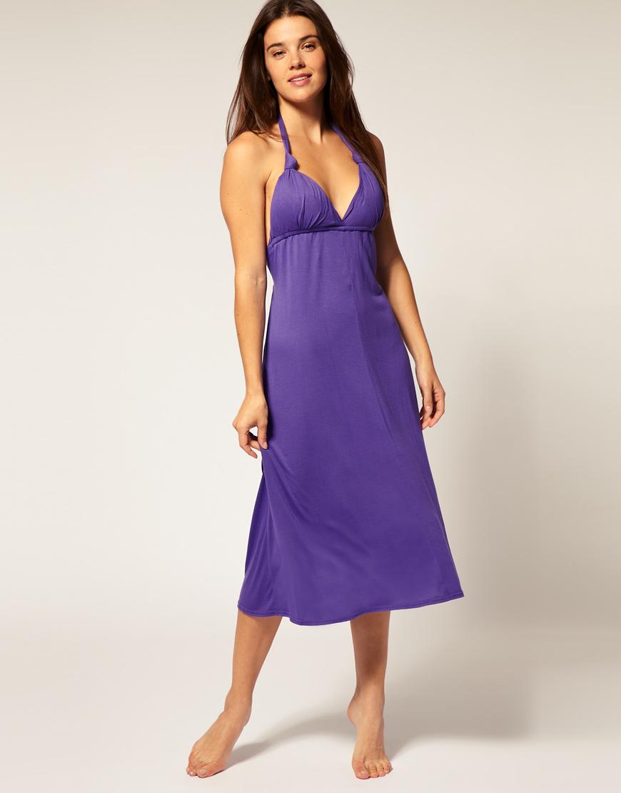 Lyst - Asos Collection Asos Jersey Grecian Midi Beach Dress in Purple